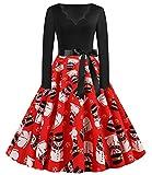 JIER Weihnachtskleid Damen Druchen Swing Festlich Kleid Elegant Abendkleid Vintage...