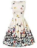 cocktailkleid v Ausschnitt Elegante Kleider Blumen Petticoat Kleid 50er Jahre Swing...