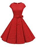 Dressystar Damen Vintage 50er Cap Sleeves Dot Einfarbig Rockabilly Swing Kleider Rot...