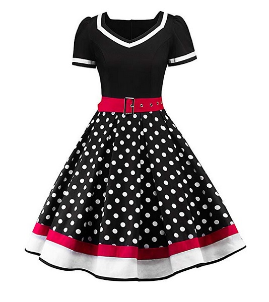 50er Jahre Rockabilly Petticoat Kleid Damen Mode